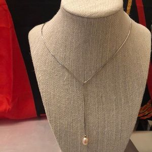 Vintage Sterling 925 lariat necklace/ w pearl